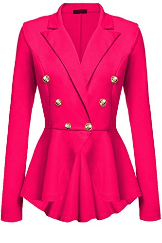 Swing Las Blazer Mujeres Larga Manga Eleagnt Chaquetas De Lapel Double Breasted De RoseRed rPrXgq