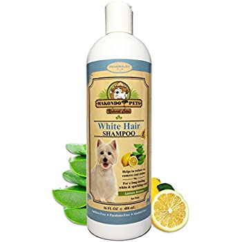 Dog Whitening Shampoo– For Dogs With White/Light Colored Hair/Coat/Fur–White Haired Pets Shampoo For Itching/Dry/Sensitive Skin–Biodegradable/Non Toxic/Vet Best Formula By Makondo Pets…