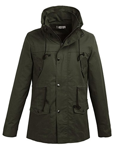 [WenVen Mens Duffle Coat Slim Fit(Army Green,M)] (Red Coat Army Costume)