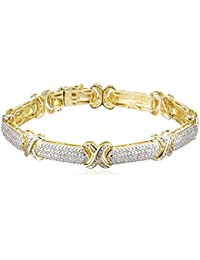 """18k Yellow Gold Plated Sterling Silver Genuine Diamond Bracelet (1/10 cttw, I-J Color, I2-I3 Clarity), 7.5"""""""