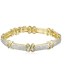 18k Yellow Gold Over Sterling Silver Diamond Bracelet (1/10cttw, I-J Color, I2-I3 Clarity)