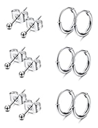 Thunaraz 6Pairs Unisex Stainless Steel Stud Endless Hoops Earrings Set Tiny Ball Stud Earrings Cartilage Earrings for Men Women