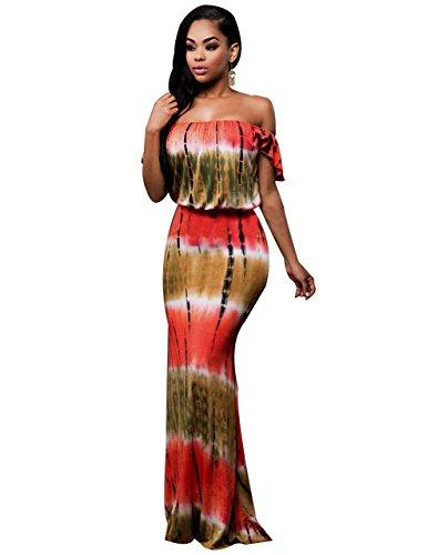 Women Sexy Off Shoulder Tie Dye Print Short Sleeve Clubwear Bodycon Maxi...
