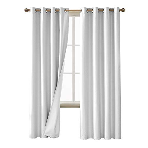 Deconovo Thermal Insulated Noise Reducing Blackout Window Curtains with Blackout Layer for Living Room Sliver White 52W x 84L Inch 2 Panels ()