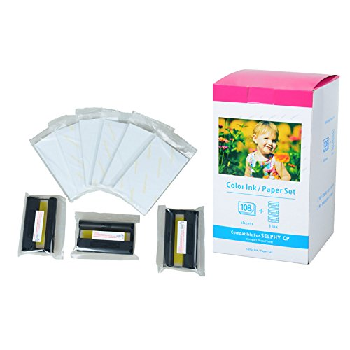 Nineleaf Compatible Color Ink and Paper Set Replacement for Canon KP-108IN KP108 Includes Total of 3 Color Ink Cassette and 108 Sheets 4 x 6 Paper Glossy For SELPHY Wireless Compact Photo Printer