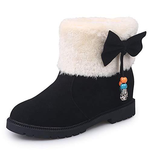 Lässige Winter Baumwoll Stiefel Snow Nackte Warme Stiefel Fashion Kopf Runde Rutschfeste Großformat Damenstiefel Boots Black Stiefel Flache zTR0w