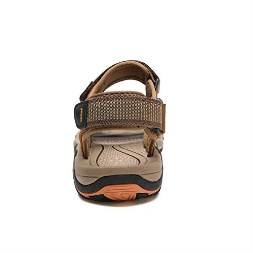 SK Studio Men's Leather Athletic Sandals Light Brown l2xZGk