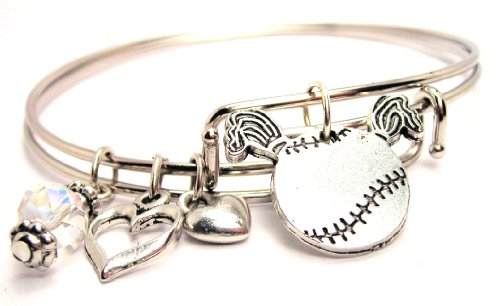 Softball Wire - Softball with Pigtails Adjustable Wire Bangle Bracelet