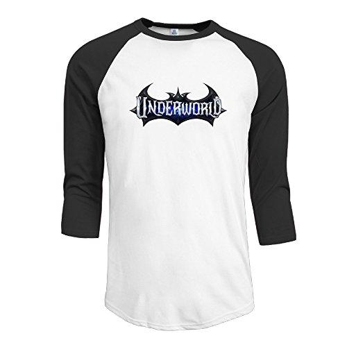 MAYOYIAII Men's Underworld Blood Wars 3/4 Sleeve Baseball T Shirts Black