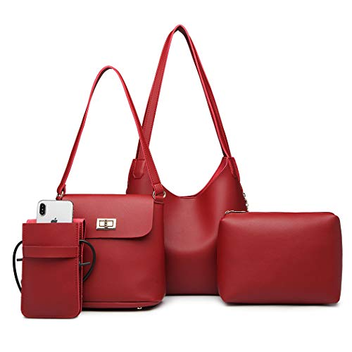 Miss Handbag mobile Pouch Bag Hobo bucket Women Leather Pouch Set Lulu Bag cosmetics Burgundy Pu rUBqr