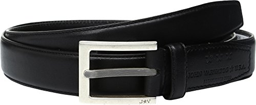 John Varvatos Embossed Belt (John Varvatos Men's Leather Dress Belt with Rectangular Buckle Black)