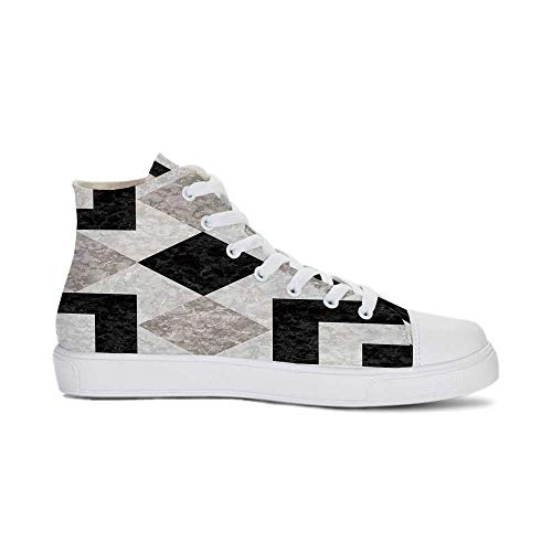 - Apartment Decor Durable High Top Canvas Shoes,Nostalgic Marble Stone Mosaic Regular Design with Alluring Elements Image for Men,US 8.5