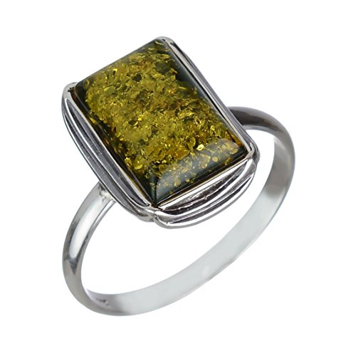 Sterling Silver and Baltic Olive Green Amber Ring