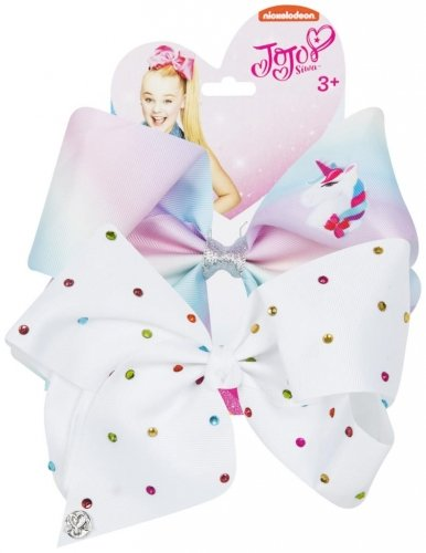 Official JoJo SiwaUnicorn & White Diamante's 2 Pack Hair Clip Bow Set with Charms worldofhoisery