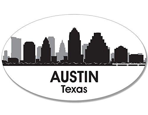 Oval B/W SKYLINE of AUSTIN Sticker (city texas - Sticker Austin