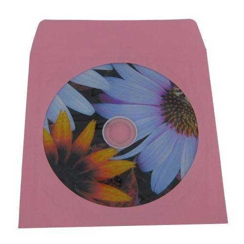 (100) Pink Colored Paper CD / DVD Disc Sleeves With Flap & Window #CDIWWFPI - Perfect for Organizing & Storing CDs and DVD (Pink Cd Jewel Cases)