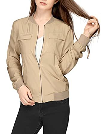 Allegra K Women Multi-Pocket Zip Fastening Lightweight Bomber Jacket XS Beige