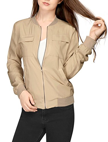 Allegra K Women's Multi-Pocket Zip Fastening Lightweight Bomber Jacket S Beige Beige Womens Jacket