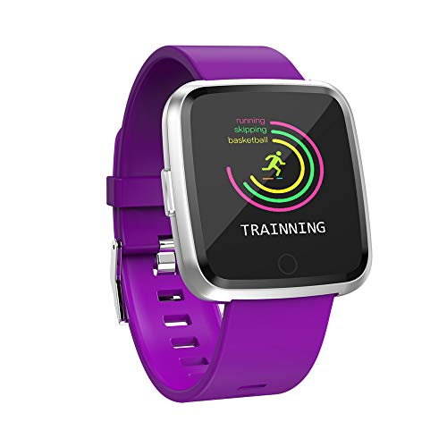 Boens Sports Band, Business Steel Belt Strap Smart Watch Multi Sports Functions Heart Rate Monitor Blood Pressure Blood Oxygen Real Time Reminder Fits iPhone 9 Samsung S9+ (Purple)