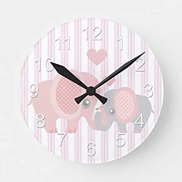 Pattebom Beautiful Baby Girl Pink Elephant Wood Wall Clocks Silent Non  Ticking for Bedrooms Living Room Nursery Kids Room Birthday Housearming  Gifts ...