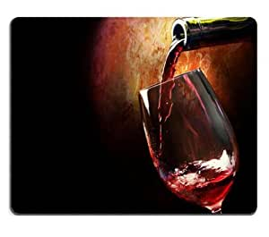 Bottles Wine Glass Red Drink Mouse Pads Customized Made to Order Support Ready 9 7/8 Inch (250mm) X 7 7/8 Inch (200mm) X 1/16 Inch (2mm) High Quality Eco Friendly Cloth with Neoprene Rubber MSD Mouse Pad Desktop Mousepad Laptop Mousepads Comfortable Computer Mouse Mat Cute Gaming Mouse pad