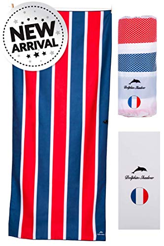 Dolphin Shadow Microfiber Beach Towel: XXL (200x90cm, 78x35) Lightweight Sand Free Beach Towel in Designer Carry Pouch & Gift Box & Fast-Drying, Pool, Bath, Sports & Camping & Yoga (Red Sand)]()