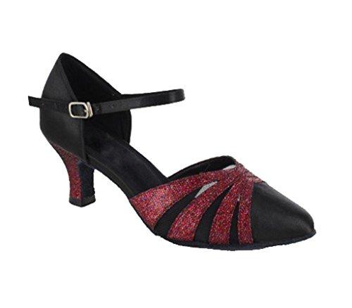 Tda Womens Comfort Fibbia Glitter Satin Pumps Moderno Sala Da Ballo Salsa Latino Ballo Scarpe Da Sposa Glitter Rosso Blackk-6cm Tacco