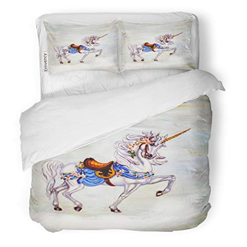 Semtomn Decor Duvet Cover Set Twin Size Colorful Oil Original Painting of Unicorn on Cloud Carousel 3 Piece Brushed Microfiber Fabric Print Bedding Set Cover