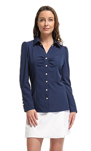 MISS MOLY Women's Button Decor Point Collar V-Neck Ruffled Chest Ruched Basic Simple Shirts Tops by MISS MOLY