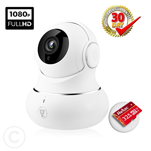 AIWOGEP WiFi Baby Monitor with Night Vision and HD 1080P and Real-time Two Way Audio for Baby Safety(White)