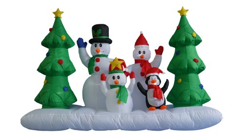 8 Foot Wide Inflatable Snowmen Family with Penguin and Christmas Trees Party Decoration