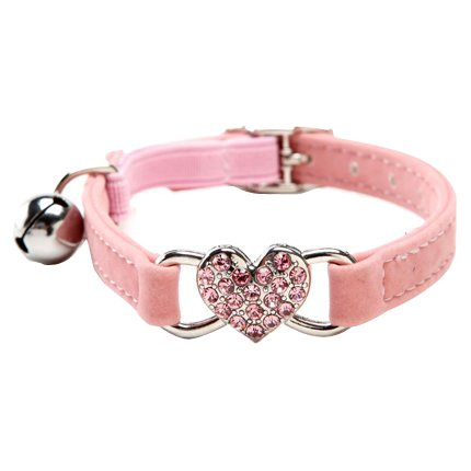 BINGPET BA3009 Soft Velvet Safe Cat Adjustable Collar with Crystal Heart Charm and Bells, Pink (Rhinestone Kitten Collar)
