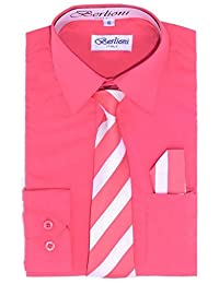Berlioni Boys Long Sleeve Dress Shirts with Tie & Hanky Many Colors