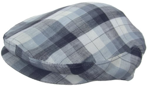 Headchange Made in USA 100% Linen Ivy Scally Summer Golf Hat Flat Cap (MEDIUM = 7 - 7 1/8, Blue (Lined Plaid Ivy Cap)