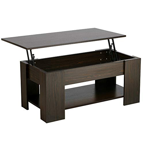 MAREEYA SHOP Lift Top Coffee Table w/Hidden Compartment Storage Shelves Modern Furniture