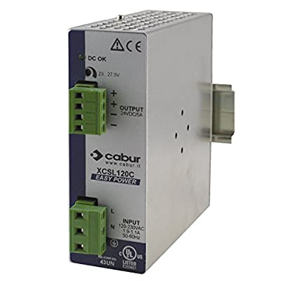 ASI XCSL120C DIN Rail Mount Power Supply, 24 VDC, 120W, 5 amp Output, 90 to 264 VAC Input