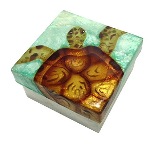 Kubla Craft Sea Turtle Capiz Shell Keepsake Box 3 x 3 (Boxes 3 Turtles Keepsake)