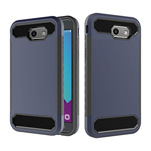 Price comparison product image Mchoice Bling Hard Soft Rubber Impact Armor Case Back Hybrid Cover for Moto X4 (Dark Blue)