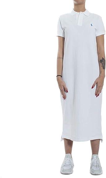 Ralph Lauren Robe Polo Longue Blanche Logo Bleu en piqué