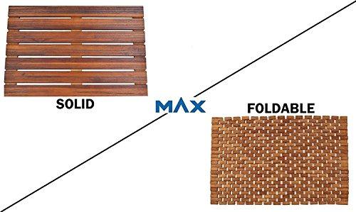 Teak Bath Floor Shower Mat - Solid OR Foldable - Indoor/Outdoor Anti-Slip - Hand Made Eco Friendly Premium Teak Wood - Luxury Shower Spa Mat by Maxtir (Natural Teak Solid Mat, 21