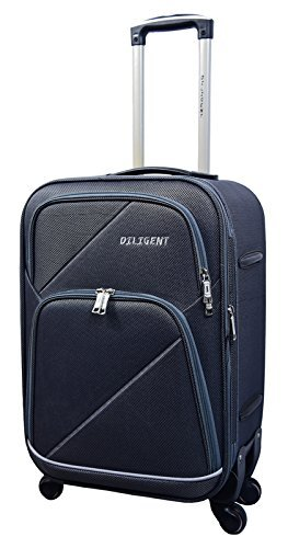 ef8a68da14a Diligent Smart Travel Case Polyester 20 inch Grey Soft Sided Suitcase   Amazon.in  Bags