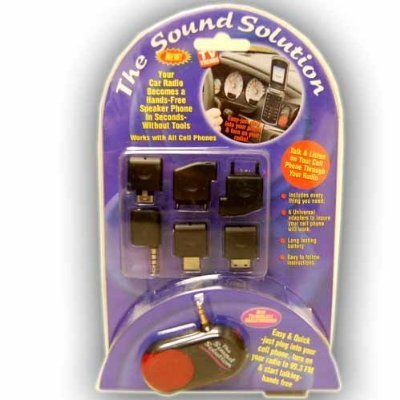 The Sound Solution Turns Your Car Radio In To A Hands Free Speaker phone! Works With All Cell Phones + 6 Universal Adapters