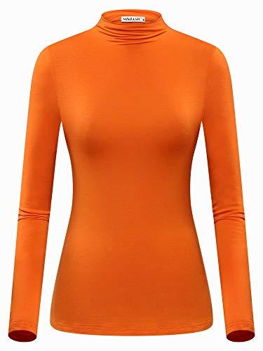 MSBASIC Halloween Velma Costume Shirt Orange Turtleneck Top Large -