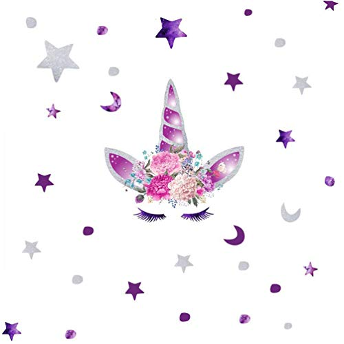 KUYUE Purple Unicorn Wall Decals Removable Wall Stickers for Boys Girls Kids Decorations Bedroom Living Room Playroom Classroom -