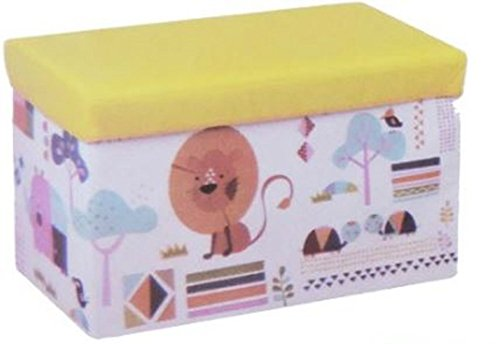 Childrens Folding Storage Ottoman Chest Lion Turtle Animal (Turtle Ottoman)