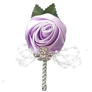 YOYOYU ART HOME DECOR 2 Pcs/Pack Wedding Corsages Boutonniere Groom Diamond Crystal Wedding Flowers Pearl Beaded Brooch Flowers (Light Purple) 25