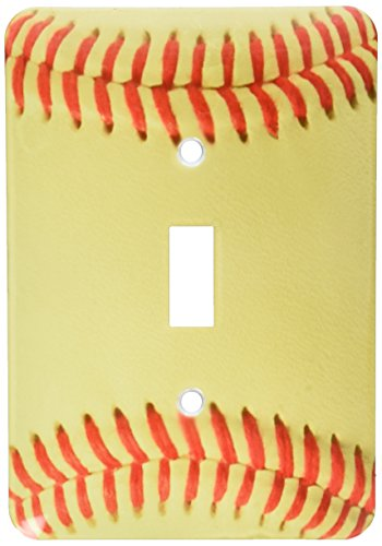 (3dRose LLC lsp_120271_1 Softball Close-Up Photography Printm Yellow and Red Soft Ball For Sporty Sport Fans Team Players Single Toggle Switch)
