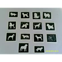 10 x Dog stencils for etching on glass (mixed) Poodle Alsatian Westie Rottweiller
