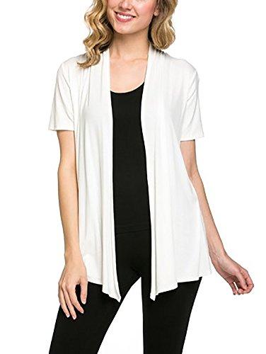 12 Ami Basic Solid Short Sleeve Open Front Cardigan Ivory Extra Large