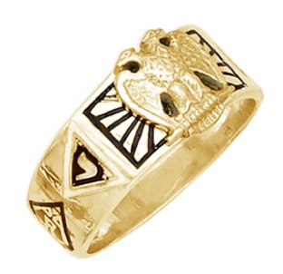 Masonic Scottish Rite Jewel - US Jewels And Gems Men's Vermeil Masonic Freemason Scottish Rite Ring (Size 8)